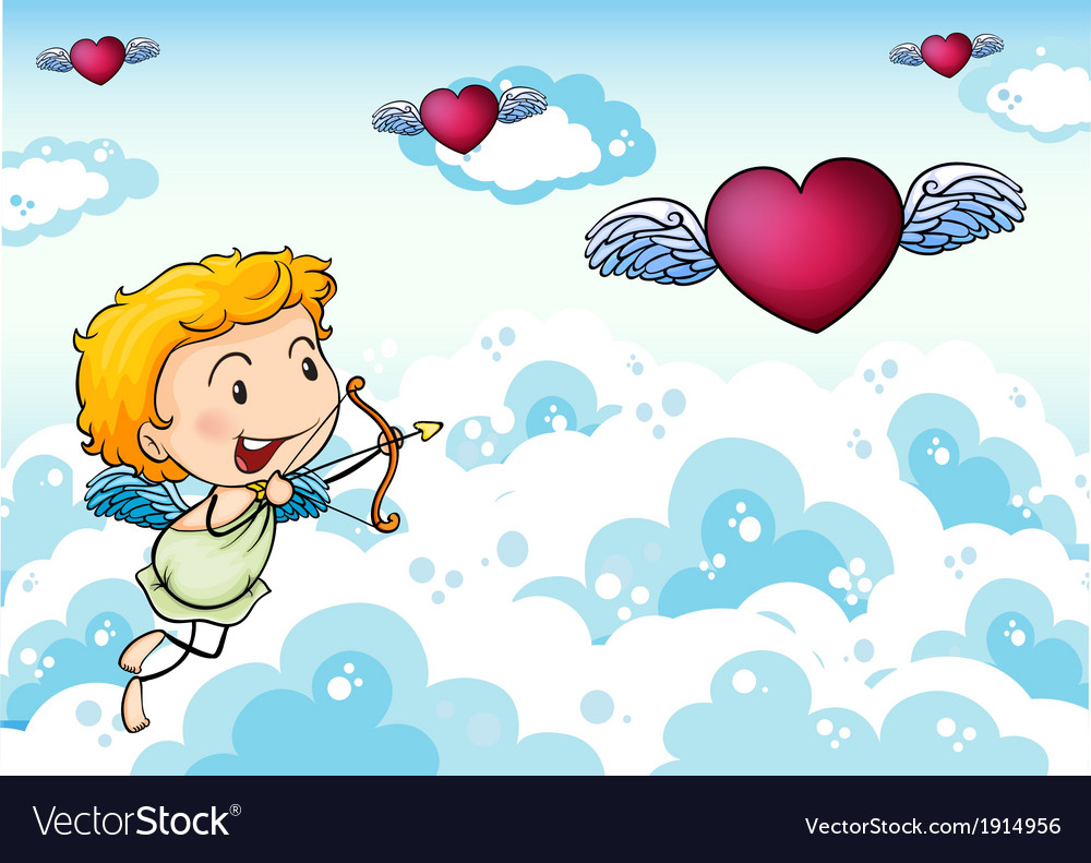 A sky with an angel and hearts with wings vector | Price: 3 Credit (USD $3)