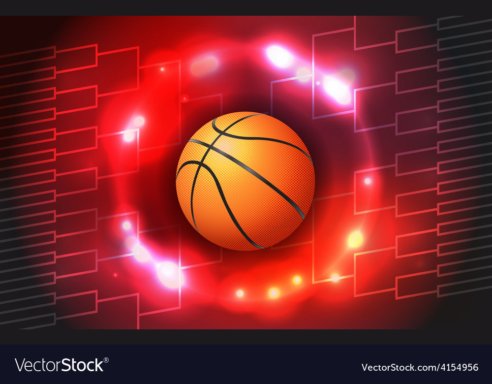 Basketball tournament bracket and ball vector | Price: 1 Credit (USD $1)