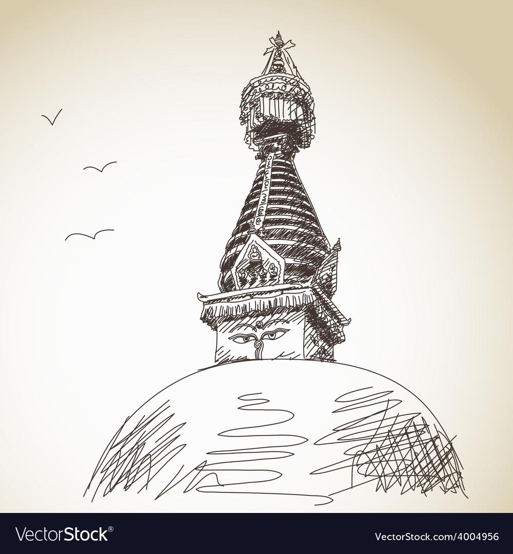 Buddhist stupa vector | Price: 1 Credit (USD $1)