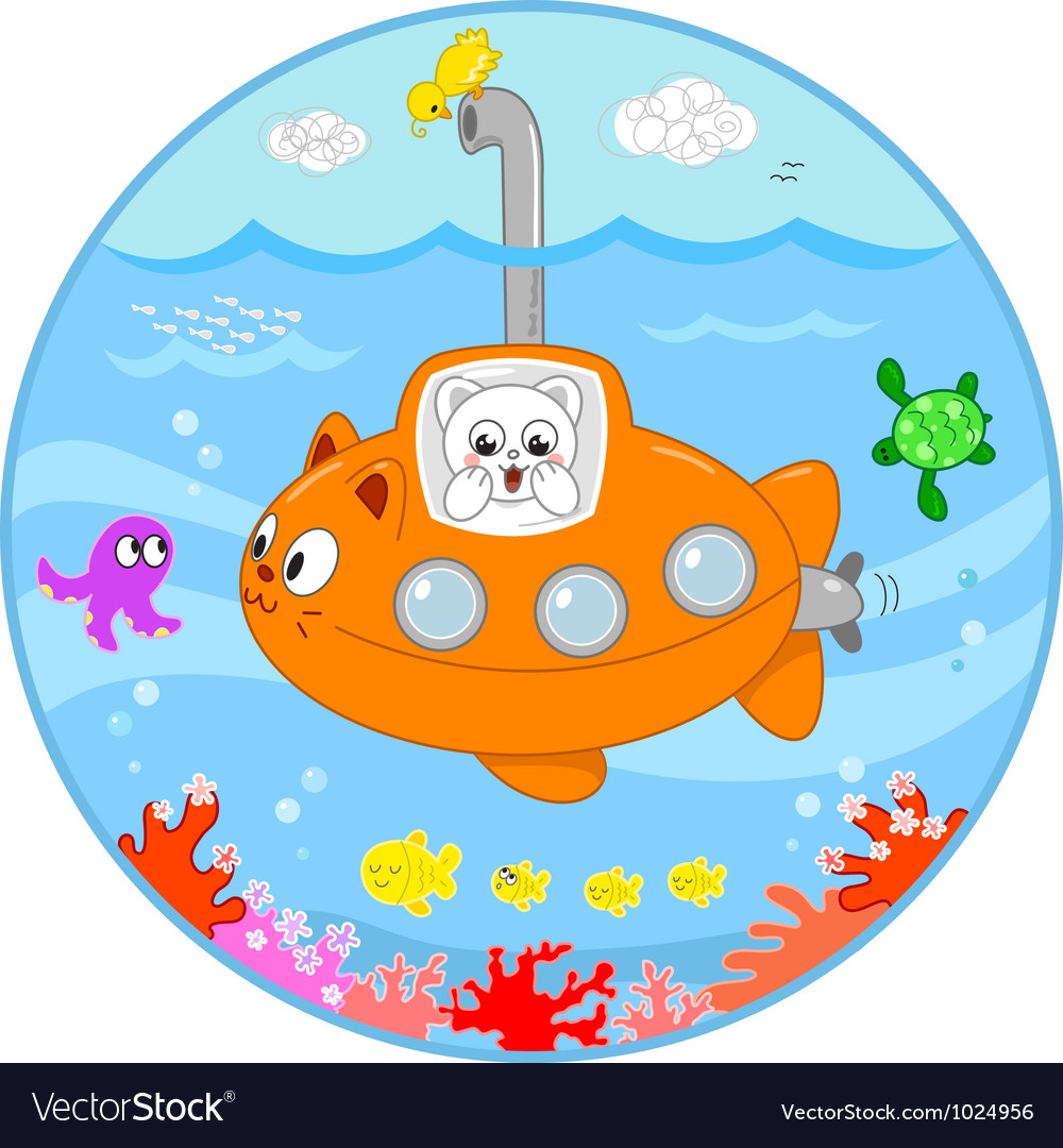 Cute cat on submarine under water vector | Price: 1 Credit (USD $1)