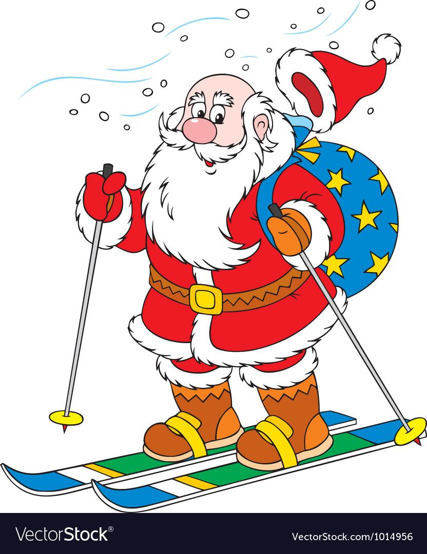 Santa claus skier vector | Price: 3 Credit (USD $3)