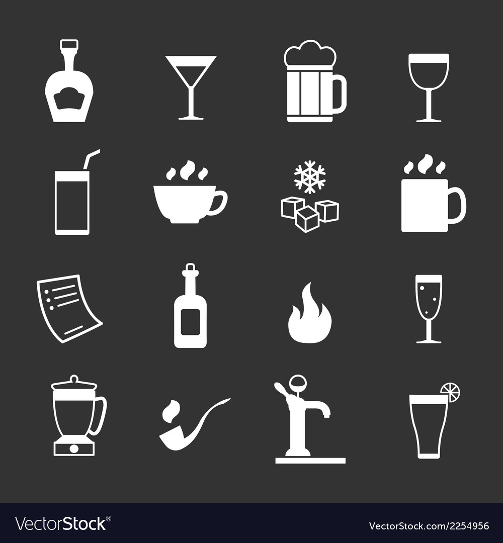 Set icons of bar drinks and beverages vector | Price: 1 Credit (USD $1)