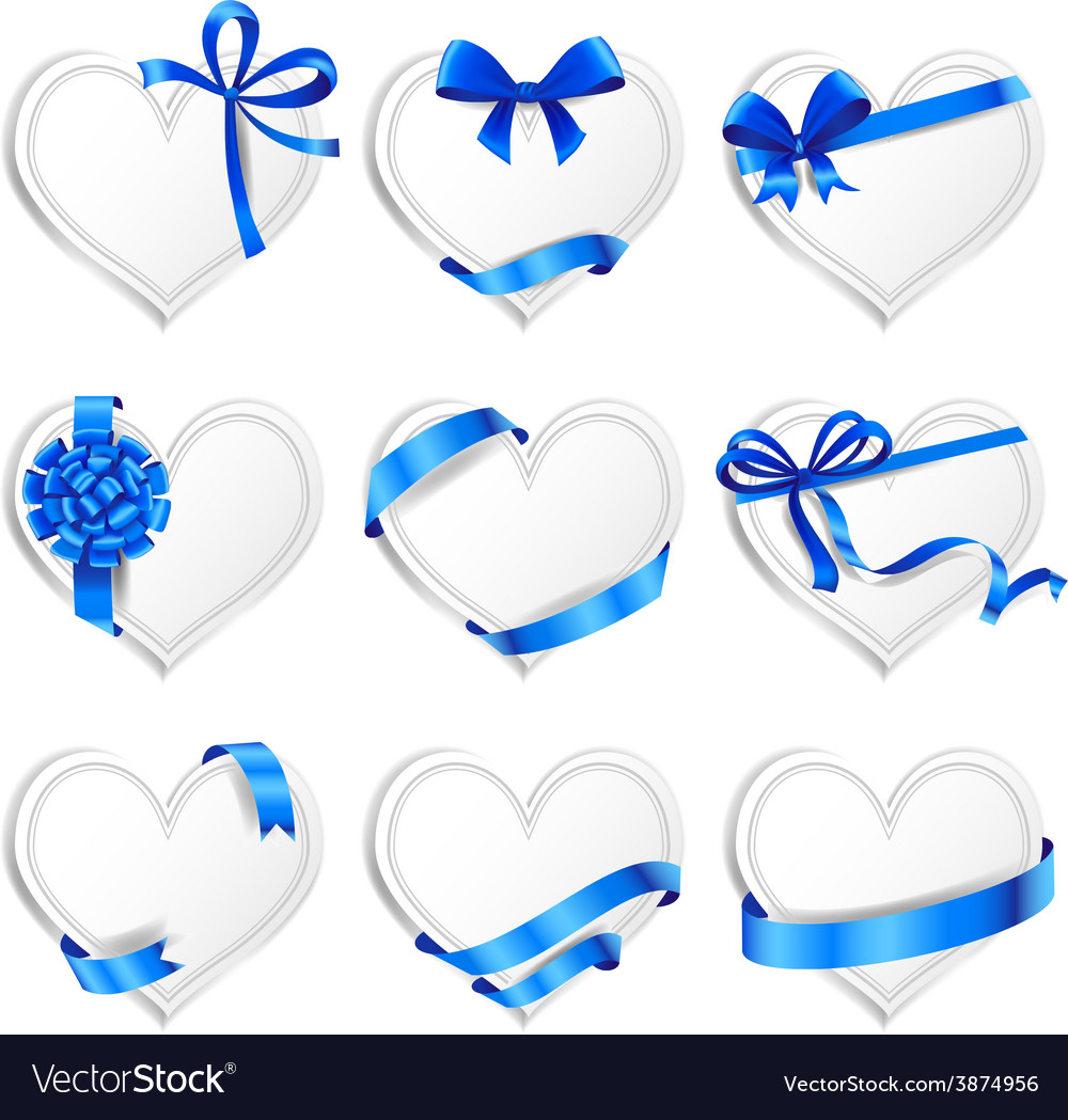 Set of beautiful heart-shaped cards with blue gift vector | Price: 3 Credit (USD $3)