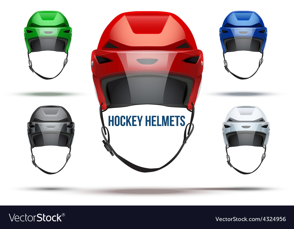 Set of classic ice hockey helmets with glass vector   Price: 1 Credit (USD $1)