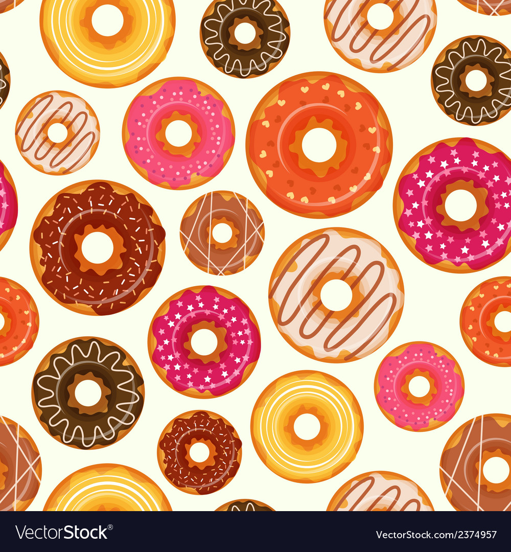 Donut seamless pattern vector | Price: 1 Credit (USD $1)