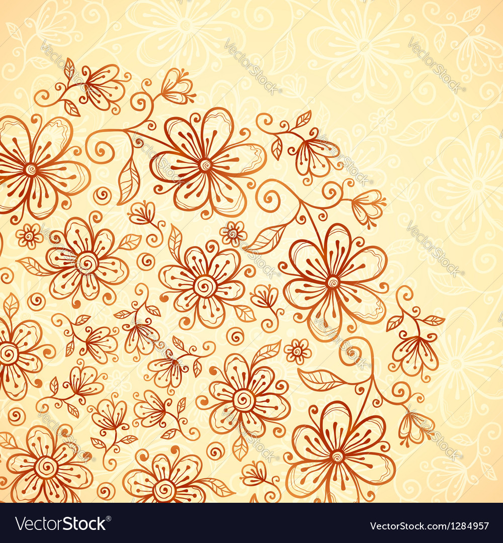 Doodle vintage flowers background vector | Price: 1 Credit (USD $1)