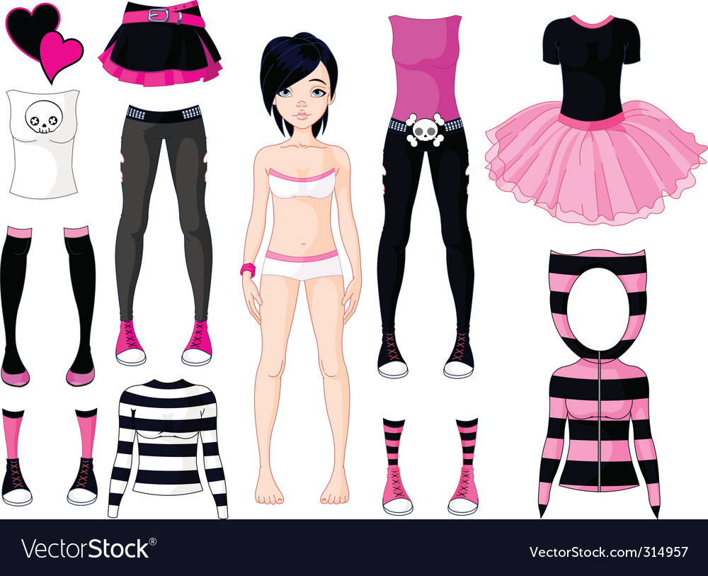 Girl with dresses emo stile vector | Price: 3 Credit (USD $3)