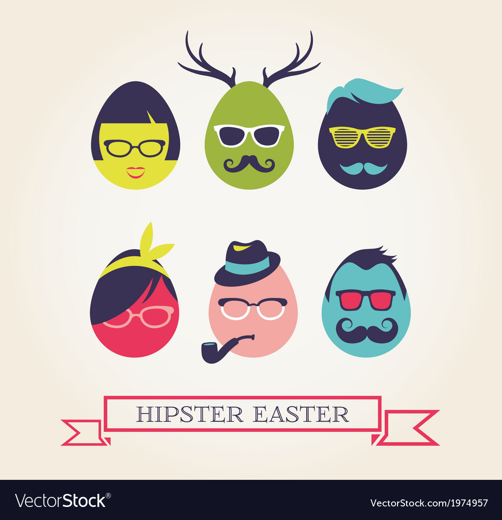 Happy hipster easter - set of stylish eggs icons vector | Price: 1 Credit (USD $1)