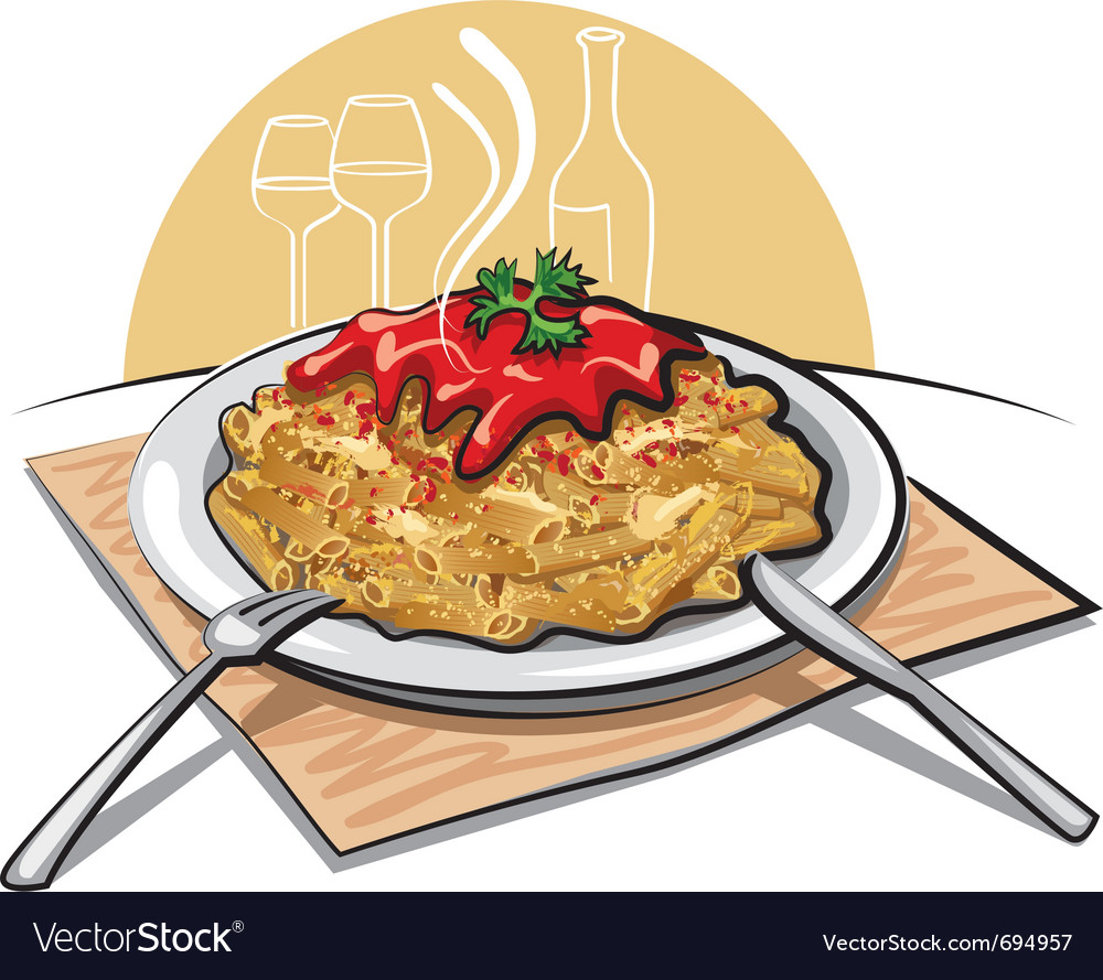 Pasta with sauce vector