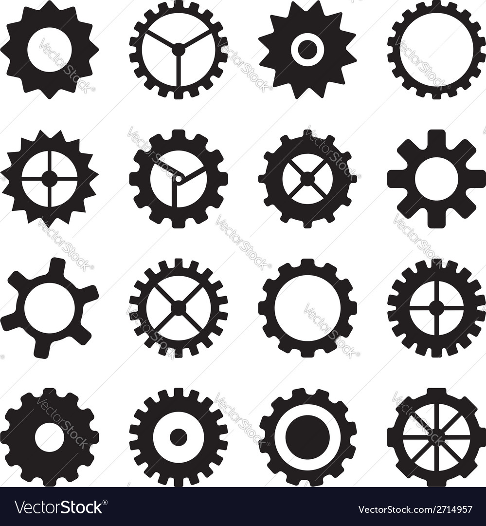 Set of cogwheels pinions and gears vector | Price: 1 Credit (USD $1)