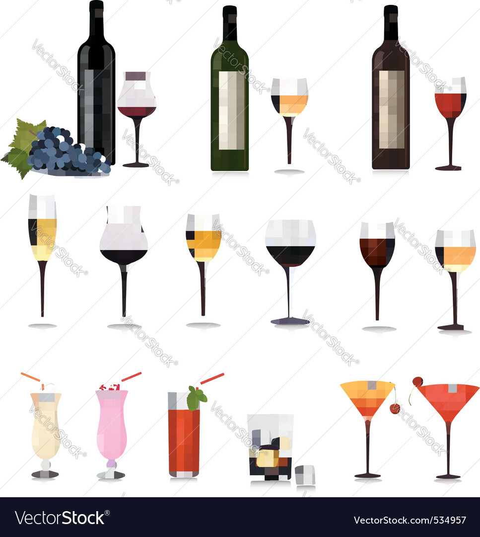 Set of different drinks vector | Price: 3 Credit (USD $3)