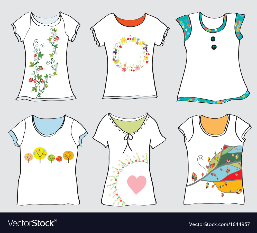 T-shirts templates set vector | Price: 1 Credit (USD $1)