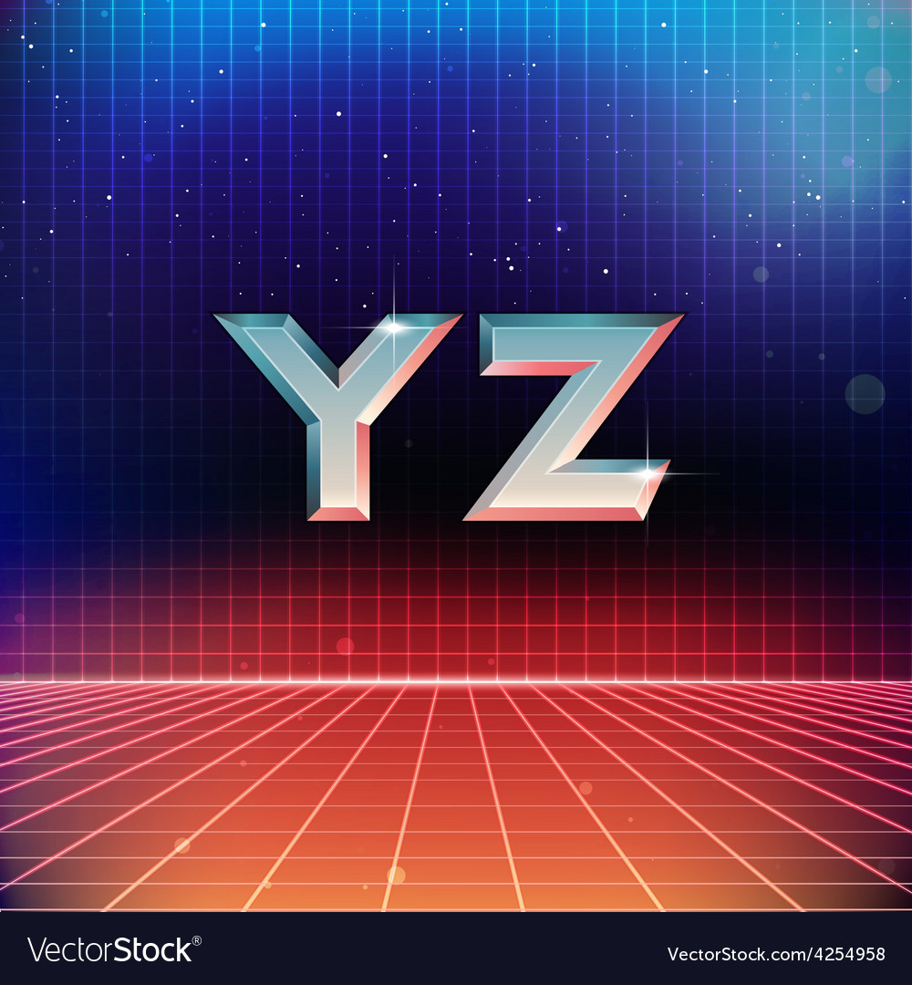 80s retro futuristic font from y to z vector | Price: 1 Credit (USD $1)