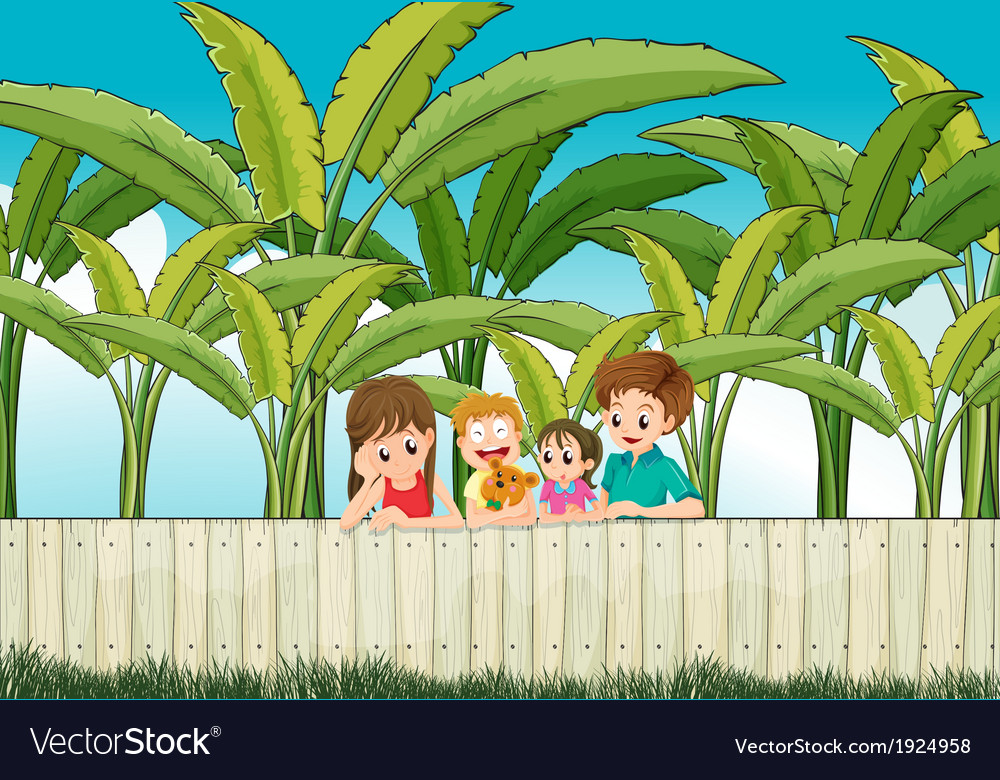 A sad mother with her family at the fence vector | Price: 3 Credit (USD $3)