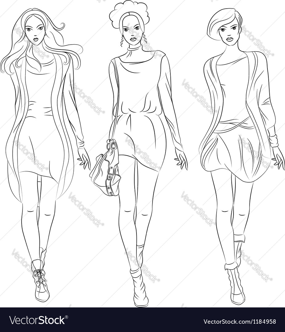 Black and white beautiful fashion girls top mo vector | Price: 3 Credit (USD $3)