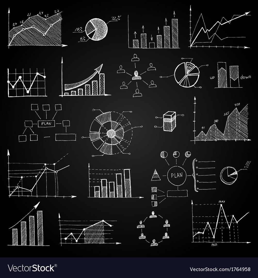 Chalk board doodle web charts vector | Price: 1 Credit (USD $1)