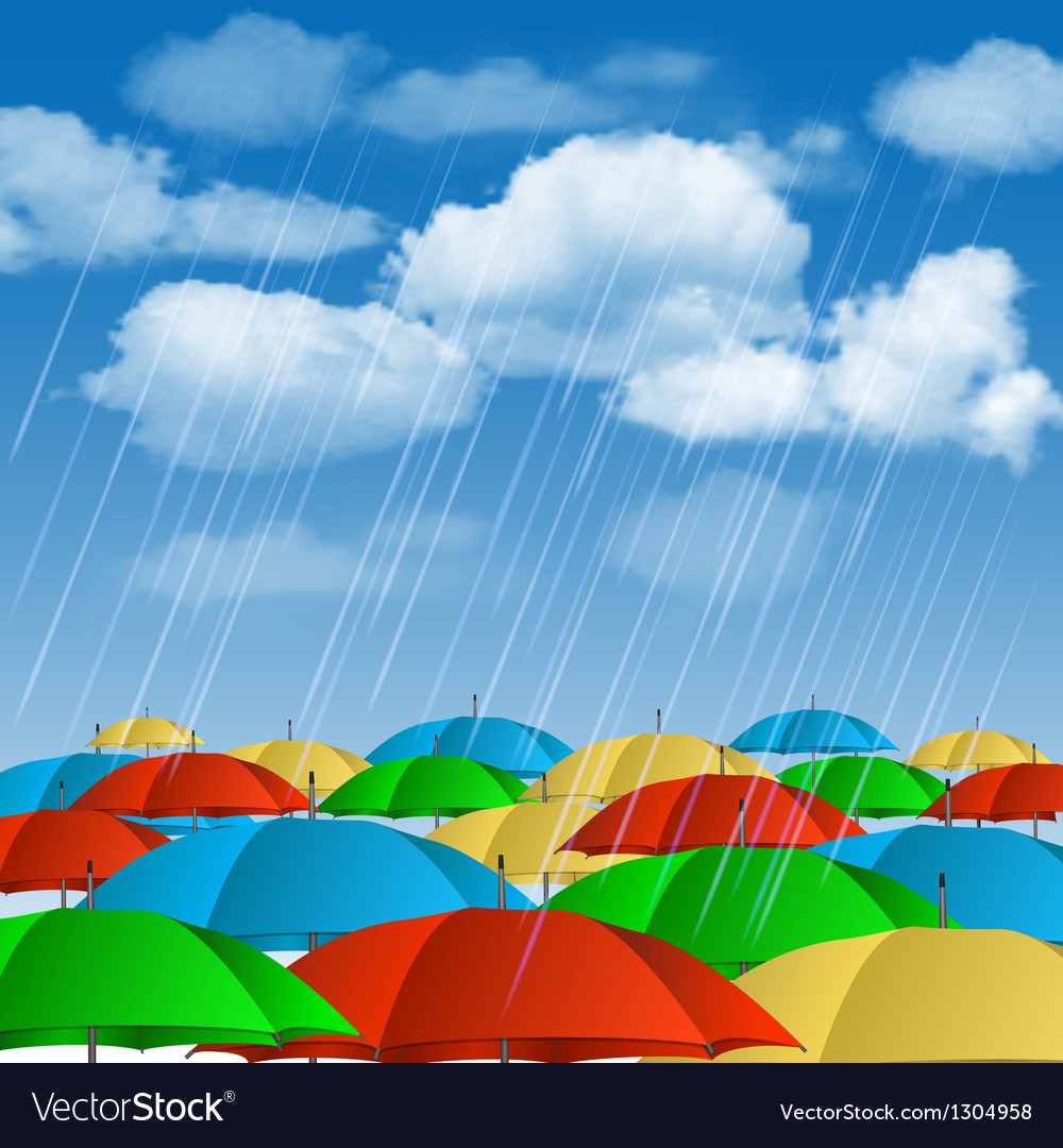 Colorful umbrellas in rain vector | Price: 1 Credit (USD $1)