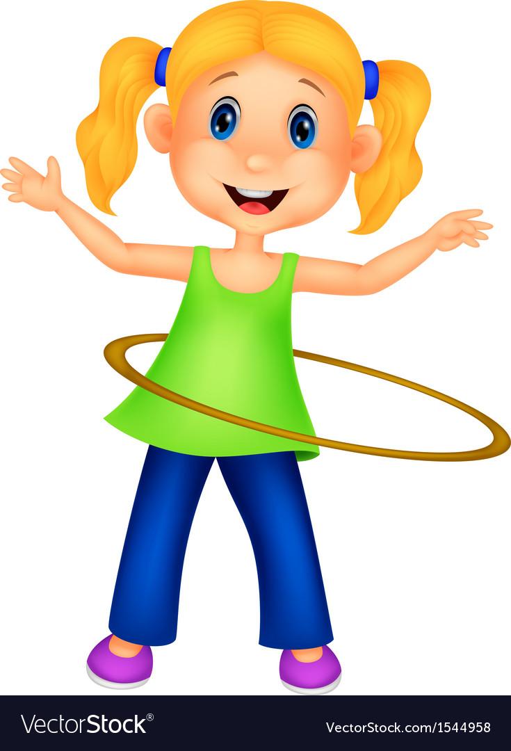 Cute girl cartoon twirling hula hoop vector | Price: 1 Credit (USD $1)