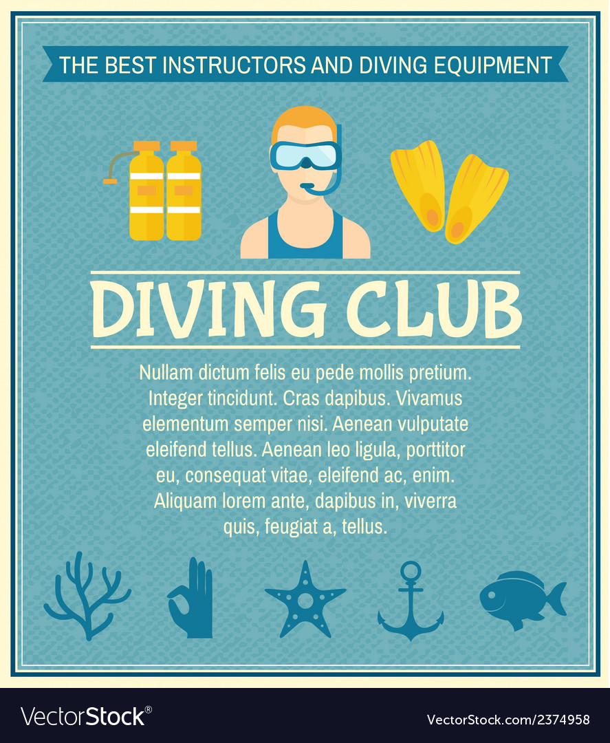 Diving club poster vector | Price: 1 Credit (USD $1)