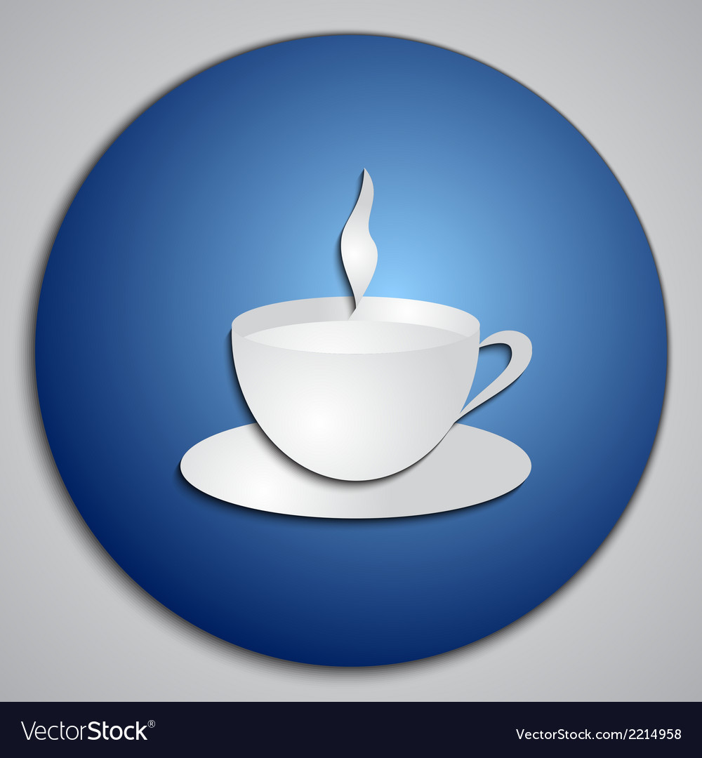 Round blue coffee cup button with paper cut image vector | Price: 1 Credit (USD $1)