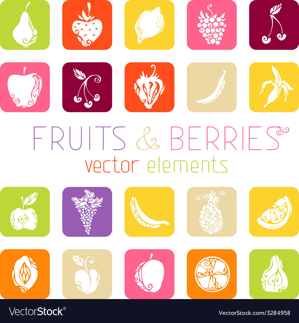 Set of flat square icons with fruits and berries vector | Price: 1 Credit (USD $1)