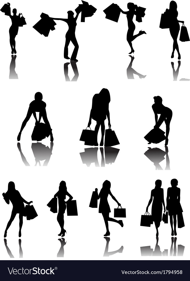 Shopping family and girls silhouettes vector | Price: 1 Credit (USD $1)