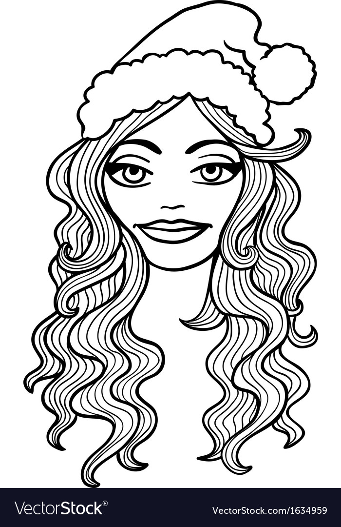 Black and white outline  smiling girl in a c vector | Price: 1 Credit (USD $1)