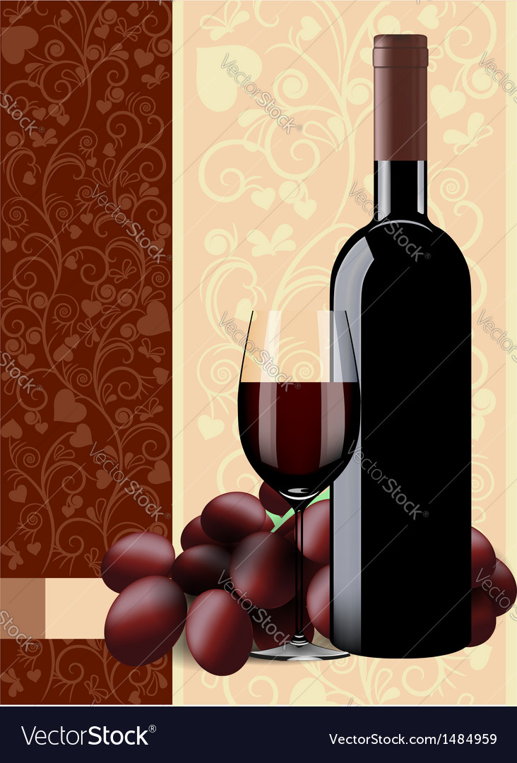 Bottle glass of wine and grapes on floral backgrou vector | Price: 1 Credit (USD $1)