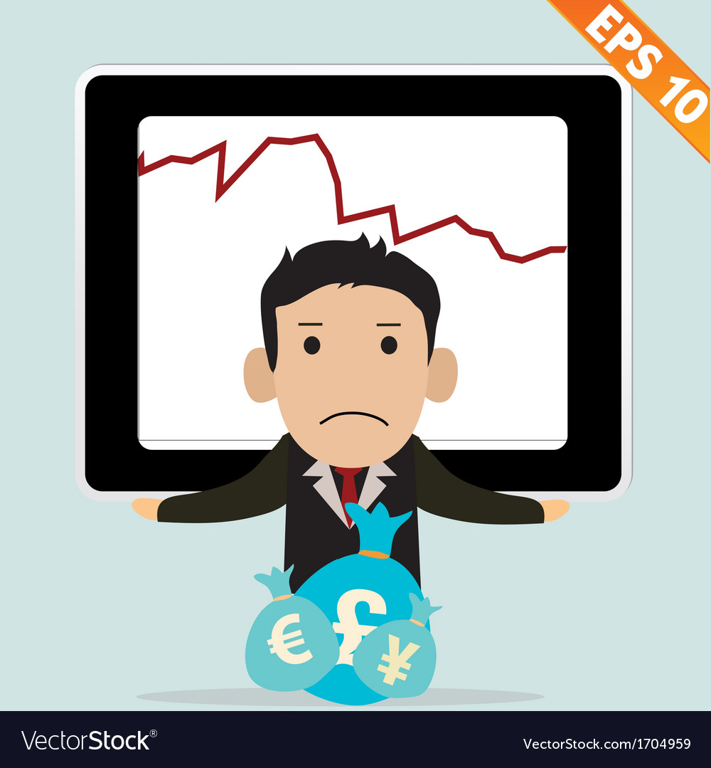 Cartoon businessman with financial money - - vector | Price: 1 Credit (USD $1)