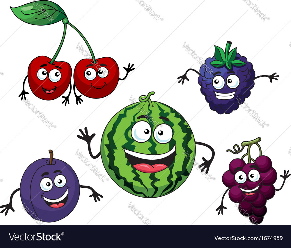 Cherry watermelon grape bilberry and plum vector | Price: 1 Credit (USD $1)