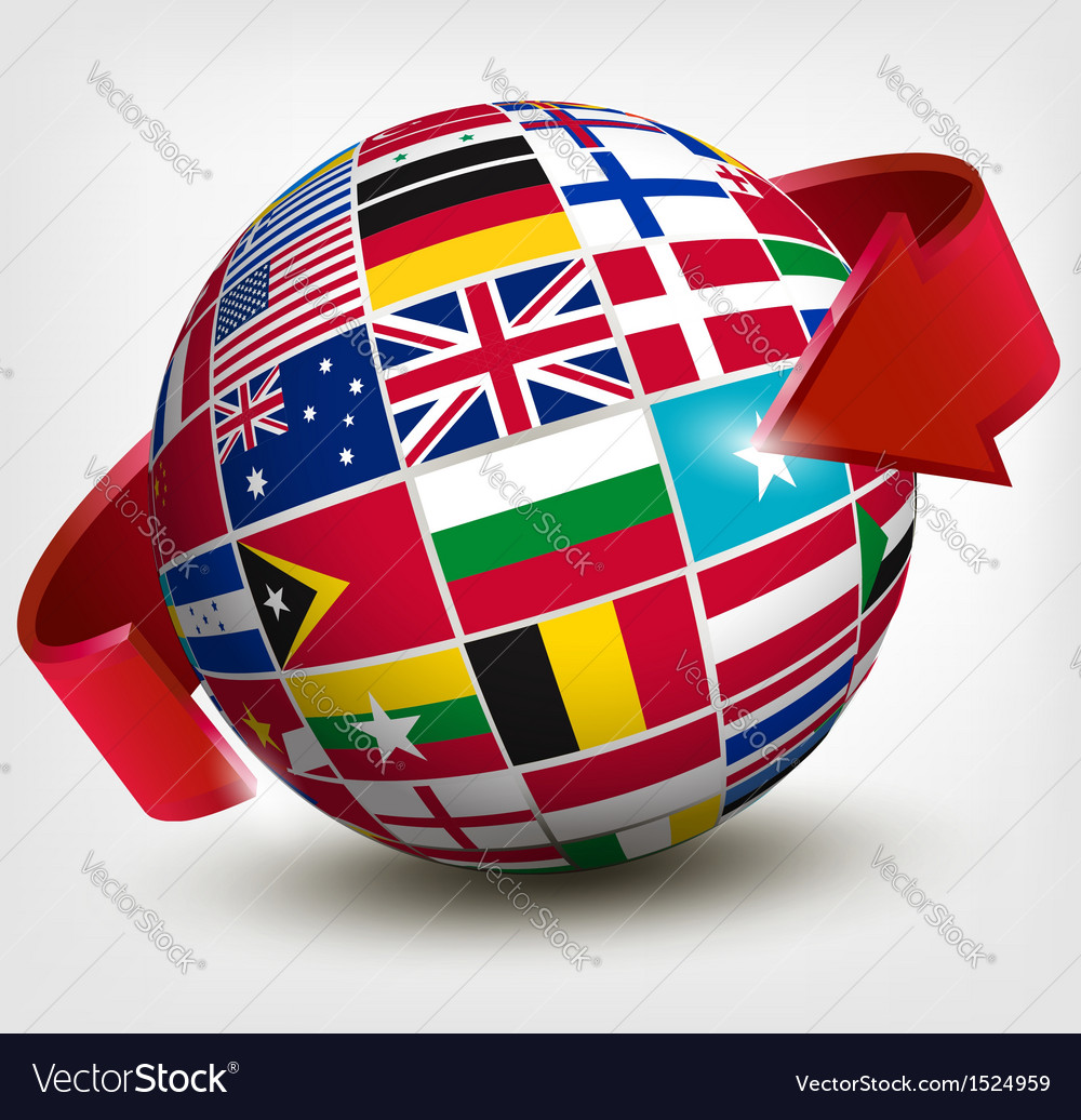 Flags of the world in globe with an arrow vector | Price: 3 Credit (USD $3)