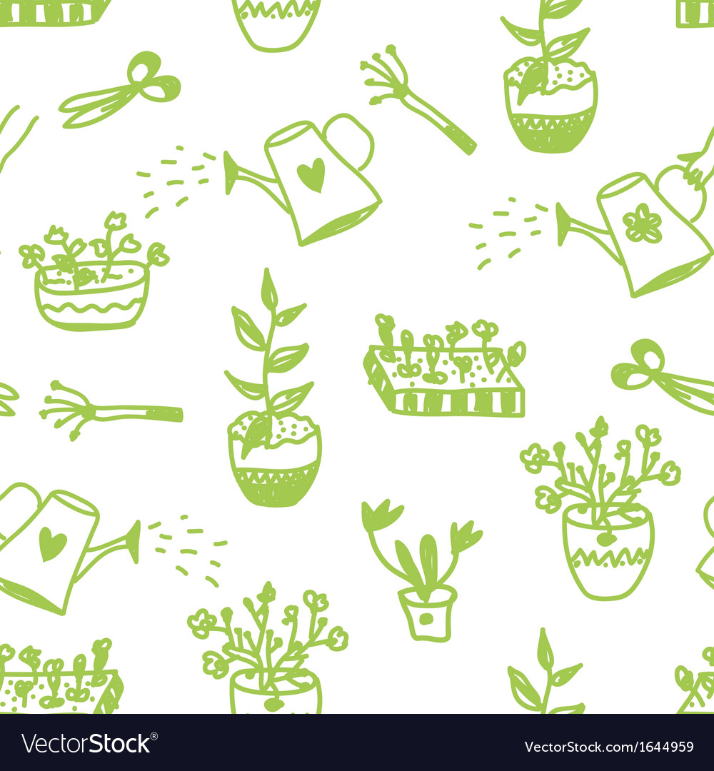 Garden flowers and tools seamless pattern vector | Price: 1 Credit (USD $1)