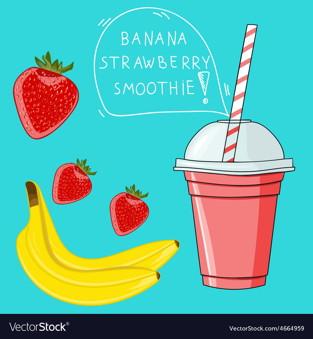 Glass with banana strawberry smoothie natural bio vector | Price: 1 Credit (USD $1)