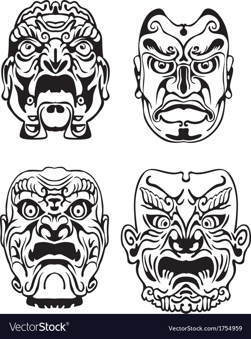 Japanese noh theatrical masks vector | Price: 1 Credit (USD $1)