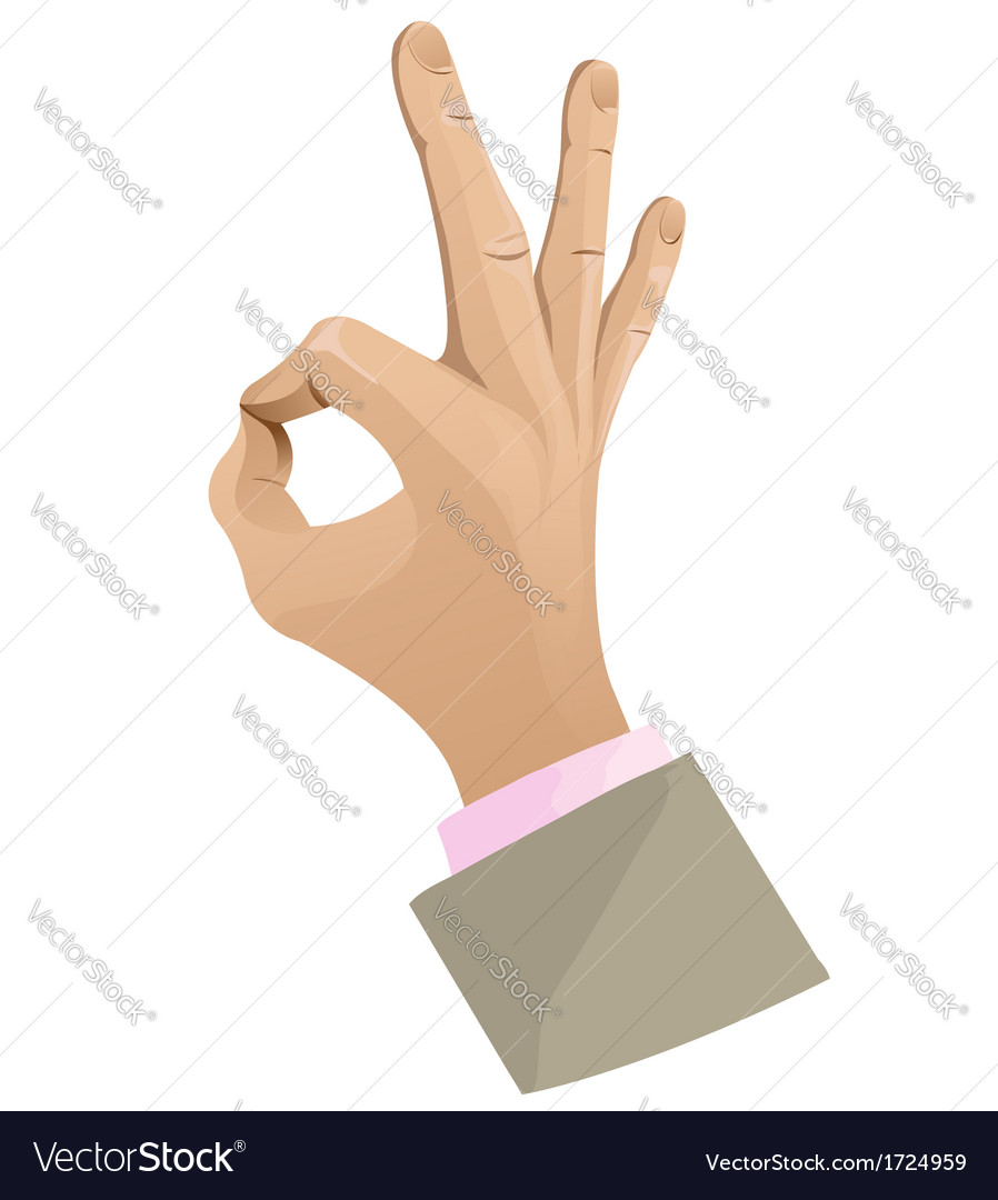 Man hand showing ok sign vector | Price: 1 Credit (USD $1)