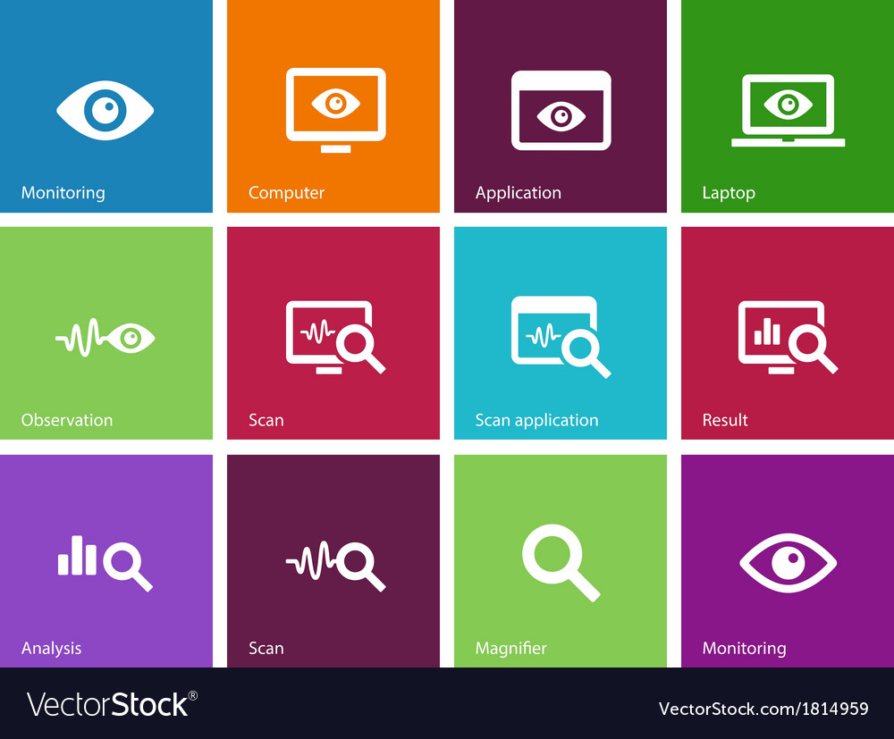 Monitoring icons on color background vector | Price: 1 Credit (USD $1)