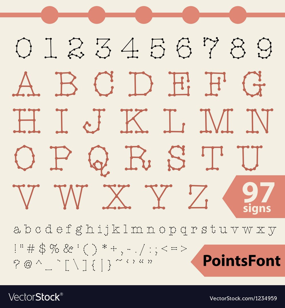 Points font 97 letters numbers and signs vector | Price: 1 Credit (USD $1)