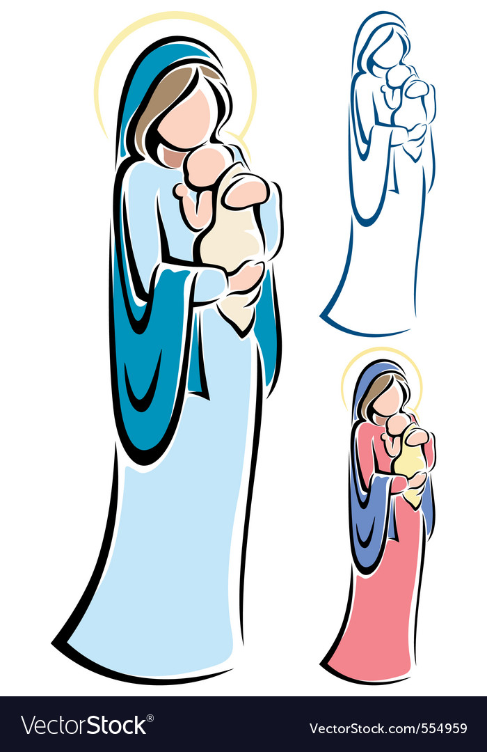 Virgin mary baby jesus vector | Price: 1 Credit (USD $1)