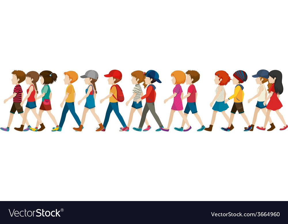 A crowd walking vector | Price: 1 Credit (USD $1)