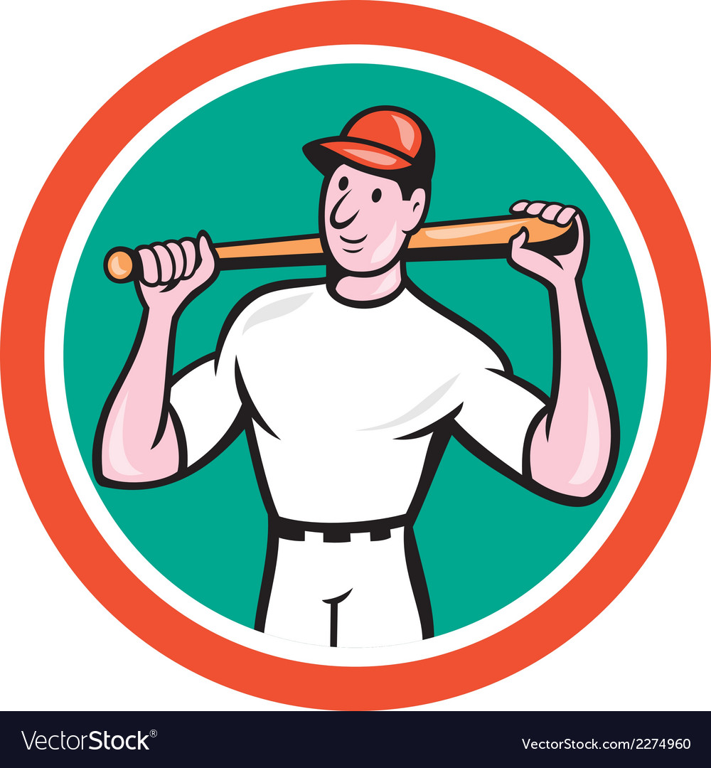 Baseball player holding bat cartoon vector | Price: 1 Credit (USD $1)