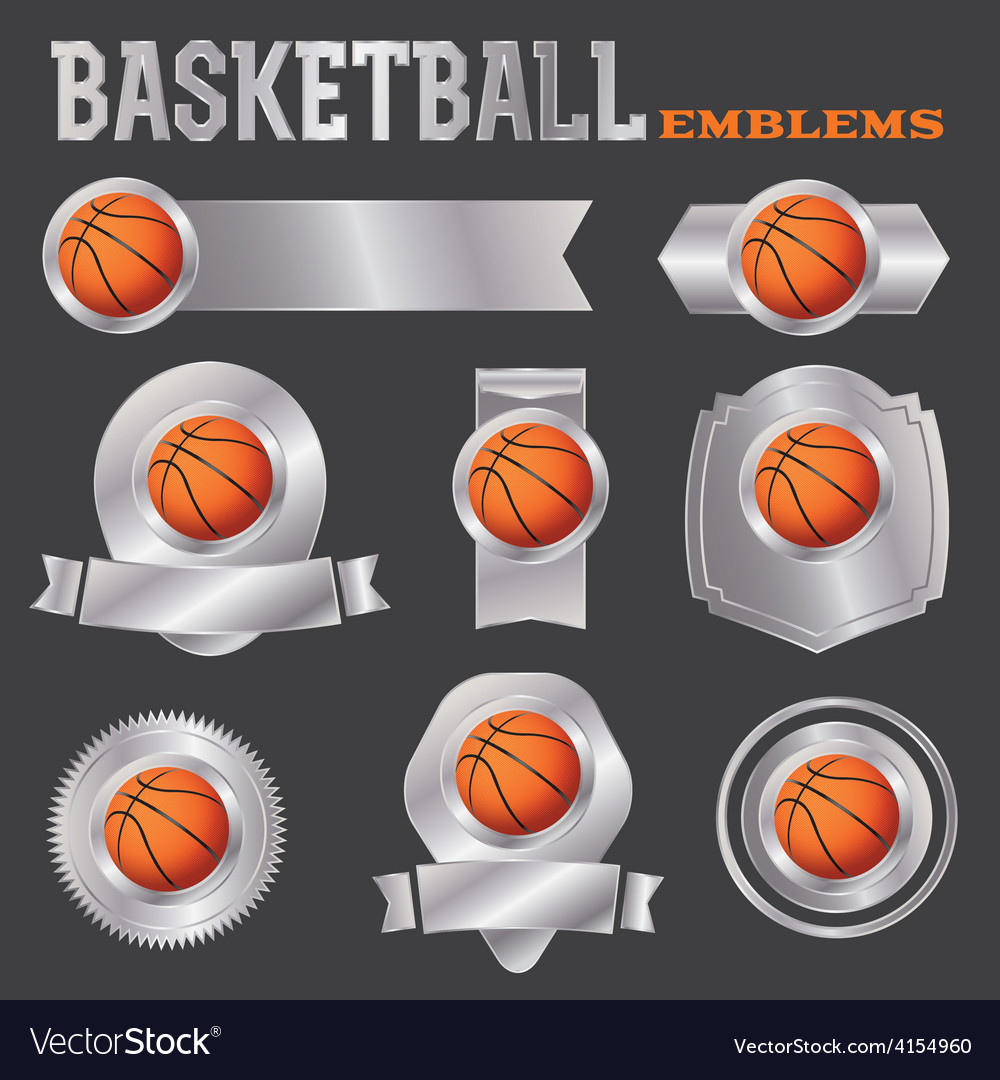 Basketball metal banners and badges vector | Price: 1 Credit (USD $1)