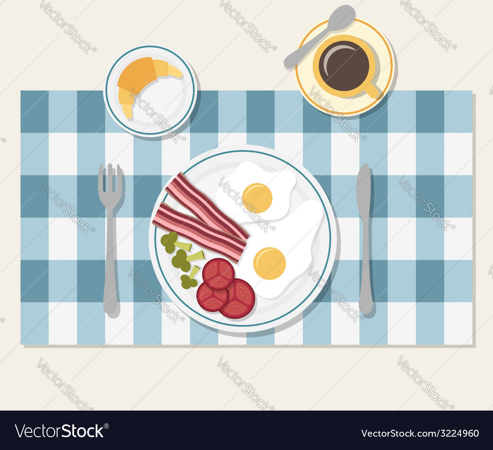 Breakfast table setting vector | Price: 1 Credit (USD $1)