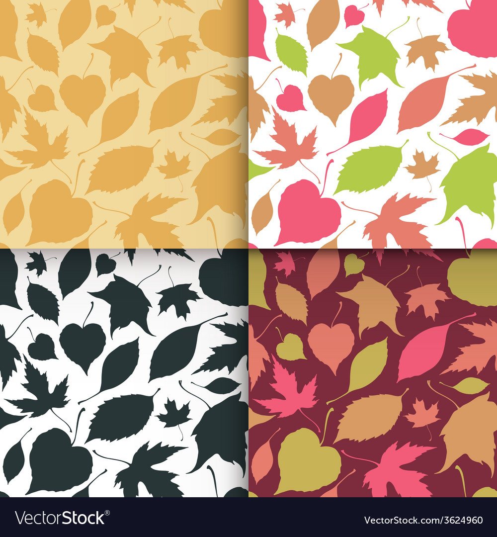 Falling leaves seamless patterns set vector | Price: 1 Credit (USD $1)