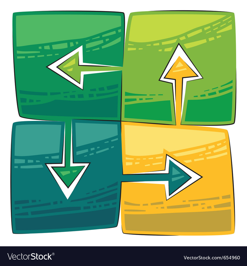 Four green arrows vector | Price: 1 Credit (USD $1)
