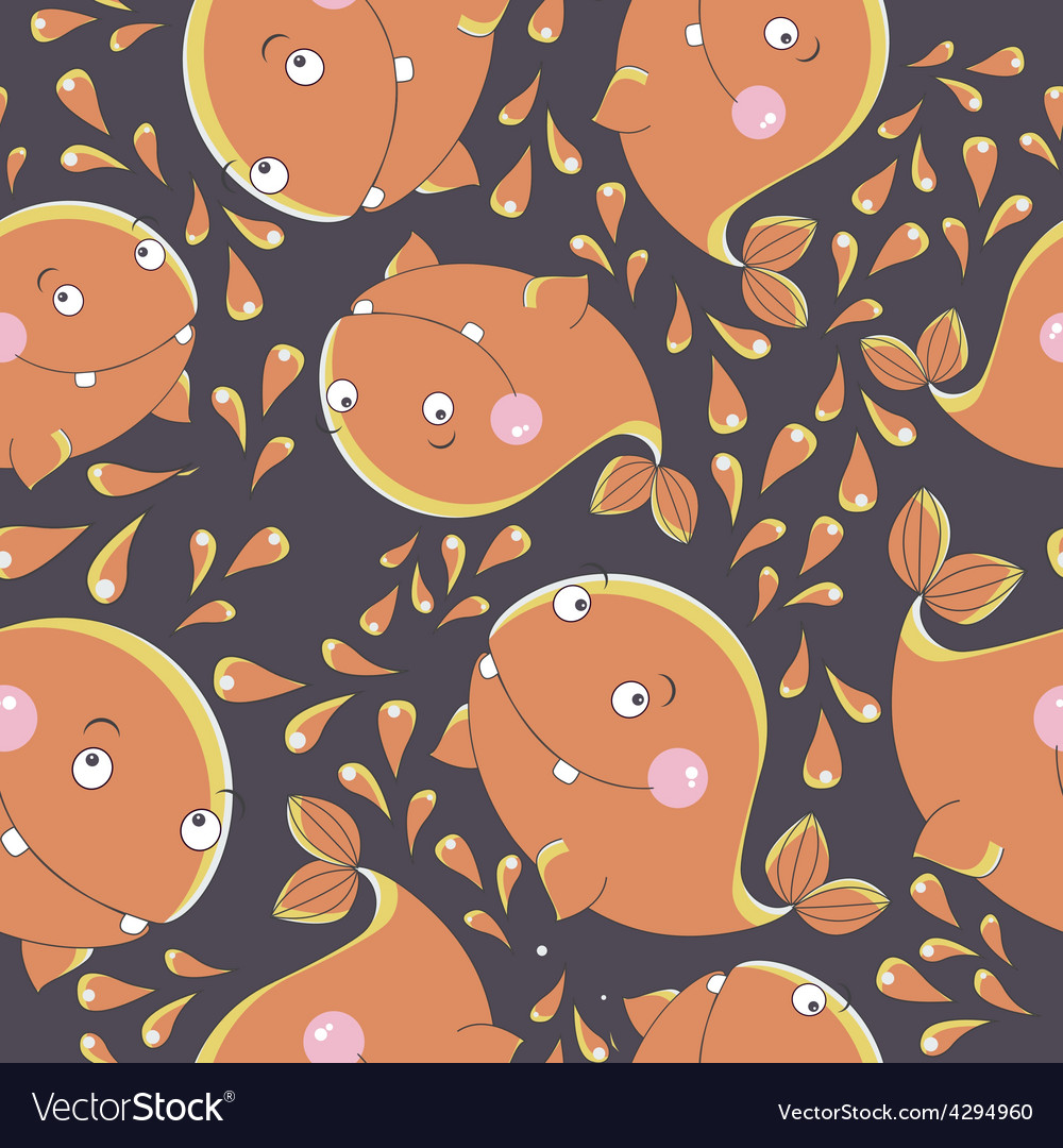 Funny whale seamless pattern vector | Price: 1 Credit (USD $1)