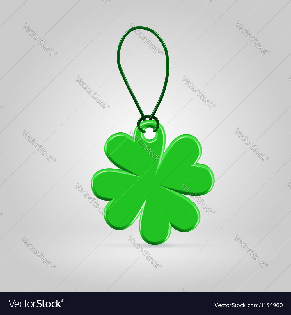 Green plastic shamrock leaf tag vector | Price:  Credit (USD $)
