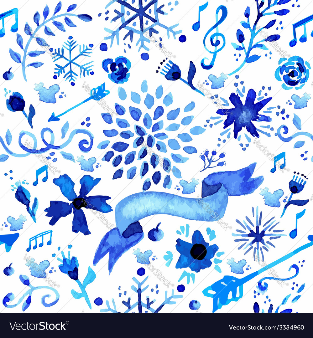 Hand drawn watercolor flower pattern vector | Price: 1 Credit (USD $1)