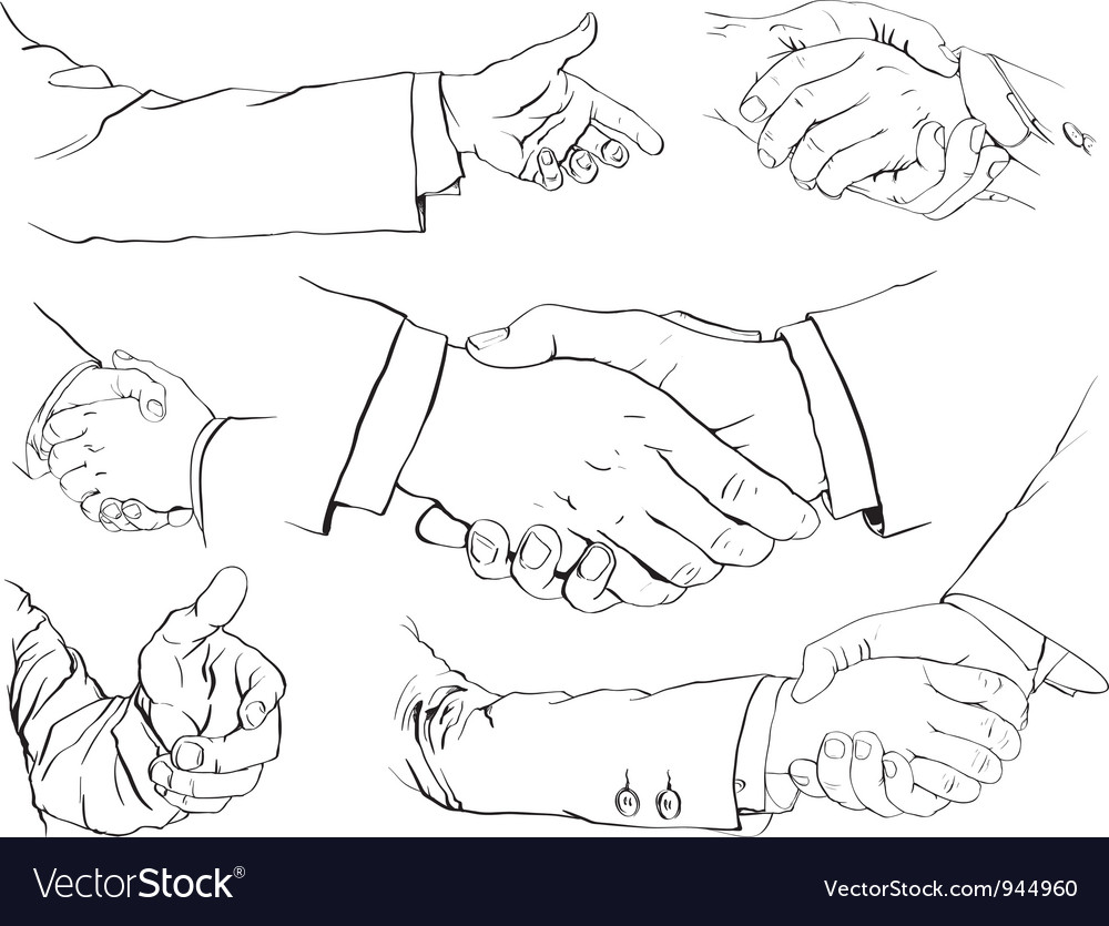 Handshake set vector | Price: 1 Credit (USD $1)