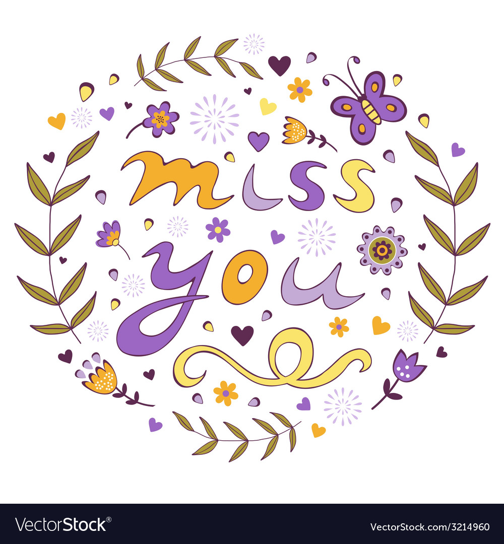 Miss you card vector | Price: 1 Credit (USD $1)