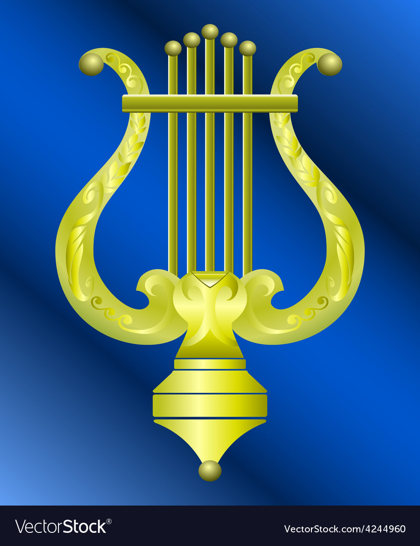 Musical instrument lyre decorated with ornament vector | Price: 1 Credit (USD $1)